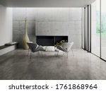 Modern Living Room With Grey ...