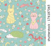 funny animals. colorful cartoon ... | Shutterstock . vector #176187365