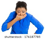Small photo of Closeup portrait of young unhappy, annoyed, sick woman about to chuck, throw up, puke retch barf, hurl isolated on white background. Negative emotions, feelings, facial expressions. Excessive drinking