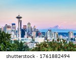 Seattle Cityscape with Mt. Rainier in the Background at Sunset, Washington, USA - stock photo