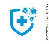 bacteria virus protection logo. ... | Shutterstock .eps vector #1761885707