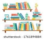 interior bookshelves. books at... | Shutterstock .eps vector #1761894884