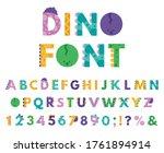 dino hand drawn alphabet.... | Shutterstock .eps vector #1761894914