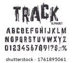 tire tracks alphabet. grunge... | Shutterstock .eps vector #1761895061