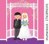 muslim bride and groom vector...   Shutterstock .eps vector #1761896141