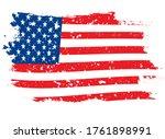grunge flag of usa on the white ... | Shutterstock .eps vector #1761898991