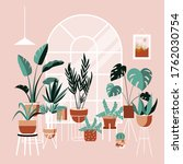 plant lady green house. set of...   Shutterstock .eps vector #1762030754