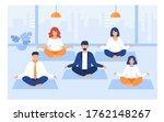 office people practicing yoga... | Shutterstock .eps vector #1762148267