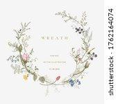 vintage floral vector wreath.... | Shutterstock .eps vector #1762164074