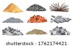 set of heaps building material. ...   Shutterstock . vector #1762174421