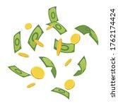cartoon money. green banknote...   Shutterstock . vector #1762174424