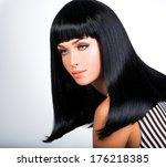 beautiful brunette woman with...   Shutterstock . vector #176218385