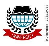 university emblem with a globe... | Shutterstock .eps vector #176219789