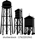 Water Tower Silhouette Vector...