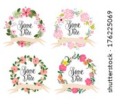 save the date cards. floral... | Shutterstock .eps vector #176225069