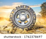 off road wheel on the  ground.... | Shutterstock . vector #1762378697