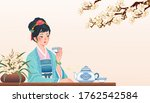 ancient chinese girl sitting at ...   Shutterstock .eps vector #1762542584