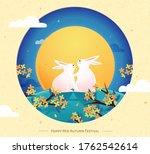 cute rabbits couple...   Shutterstock .eps vector #1762542614