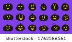 set of pumpkin silhouette with... | Shutterstock .eps vector #1762586561