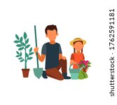 picture of a father planting... | Shutterstock .eps vector #1762591181