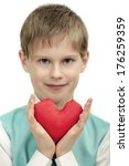 smiling boy with red heart in... | Shutterstock . vector #176259359
