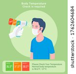 checking body temperature... | Shutterstock .eps vector #1762604684