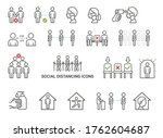 social distancing icons concept ... | Shutterstock .eps vector #1762604687