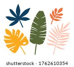 set of abstract tropical leaves ... | Shutterstock .eps vector #1762610354