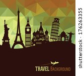 travel and tourism background | Shutterstock .eps vector #176263355