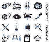 car repair icons. two tone flat ... | Shutterstock .eps vector #1762648931