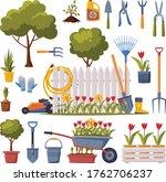 spring garden collection ... | Shutterstock .eps vector #1762706237
