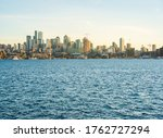 Seattle cityskyline over Lake Union on sunny day,seattle,washington,usa.