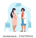 pregnant woman at the doctor s... | Shutterstock .eps vector #1762739141