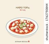 hand drawn mapo tofu...   Shutterstock .eps vector #1762750844