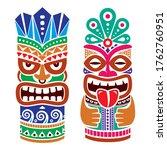 tiki pole totem vector color... | Shutterstock .eps vector #1762760951
