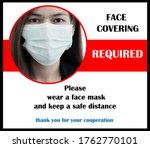 wear mask sign. the woman wear...   Shutterstock . vector #1762770101