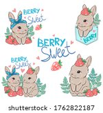 set cute bunny with strawberry. ... | Shutterstock .eps vector #1762822187