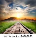 wooden road in the mountains at ...   Shutterstock . vector #176287859