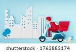 a man drive a scooter motorbike ...   Shutterstock .eps vector #1762883174