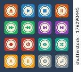 media player buttons. vector... | Shutterstock .eps vector #176290445
