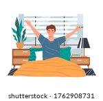 healthy young man waking up in... | Shutterstock .eps vector #1762908731