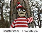 Small photo of Lisbon/Portugal - 07.19.2018: Where's Wally? Wally/Waldo in crochet.