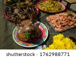 Big Cooked Pig Head On Plate O...