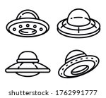 Ufo Icons Set. Outline Set Of...
