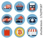 shopping flat icons for web and ...