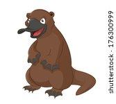 Vector image of funny cartoon animal platypus
