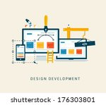 building designing a website or ... | Shutterstock .eps vector #176303801