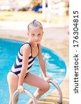 cute little girl in swimming... | Shutterstock . vector #176304815