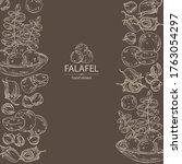 background with falafel in pita ... | Shutterstock .eps vector #1763054297