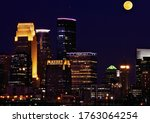 Downtown Minneapolis And Moon...